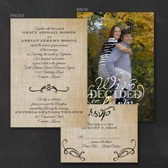 Love Burlap - ValStyle Invitation- This all in one invitation set qualifies for 25% discount on orders over 100 sets at checkout! We then deduct shipping charge to ship free!!
