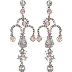 "1 3/8 x 4"" Rhinestone Estate Earrings w/CZ in Crystal with Silver Tone finish"