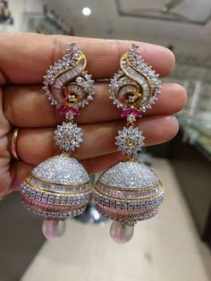 Unique & Beautiful Earrings with American Diamonds and Pearls Gold) – Traditional and Fashion Indian Jewelry for Weddings, Occasions – Indian jewelry – Jewelry Diamond Earrings Indian, American Diamond Jewellery, Indian Jewelry Earrings, Fancy Jewellery, Jewelry Design Earrings, Indian Wedding Jewelry, Gold Earrings Designs, Fashion Earrings, Bridal Jewelry