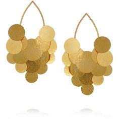 Hervé Van der Straeten Pastilles hammered gold-plated earrings