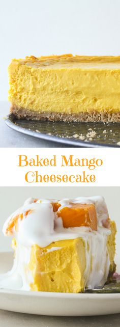 Rich, smooth, creamy baked cheesecake with fresh mango puree!