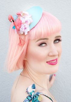 Sara is in Love with blogger outfit look ootd Collectif Clothing London Tropical Print Sarong Skirt and Crop Top with Flamingos, Pineapples and Toucans, Jazzafine fascinator headwear flamingo, Bleach London Rose Pastel Pink Hair