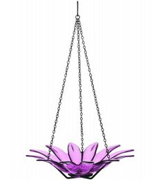 """Add color to your garden with this attractive Hanging Daisy Bird Bath! Made of recycled glass and metal, this bird bath will attract a variety of songbirds to your yard, maybe even those that don't typically eat from bird feeders! If you wish, add decorative rocks to the bottom of the bowl to provide a small resting island for birds. Butterflies may drink from it, too! The daisy bowl is available in 6 colors: clear, lime, red, fuschia, orange and aqua. It's available in 8"""" and 12"""" diameters."""