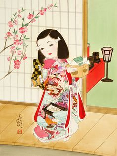 Arte Kisho Tsukuda Chinese Artwork, Japanese Artwork, Japanese Prints, Japanese Art Styles, Japanese Drawings, Japanese Illustration, Illustration Art, Woodcut Art, Japan Painting
