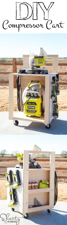 DIY Air Compressor Cart Easy-to-build DIY Air Compressor Cart with lots of extra storage for nailers and tools! FOR DUANE The post DIY Air Compressor Cart appeared first on Upholstery Ideas. Garage Shed, Garage Tools, Diy Garage, Garage Workshop, Shop Storage, Garage Organization, Garage Storage, Storage Organizers, Storage Cart