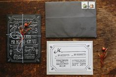 whimsical chalkboard wedding invitations designed by the groom's sister | Kim & Jess' locally sourced, rustic chic barn wedding at Murray Hill in Leesburg, VA | Images: Jordan Baker Photography