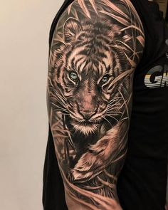 Tiger Tattoo Back, Mens Tiger Tattoo, Tiger Eyes Tattoo, Tiger Tattoo Sleeve, Big Cat Tattoo, Lion Tattoo Sleeves, Arm Cover Up Tattoos, Half Sleeve Tattoos For Guys, Cool Arm Tattoos