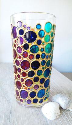 Broken Glass Art, Sea Glass Art, Water Glass, Glass Painting Designs, Paint Designs, Bottle Painting, Bottle Art, Funny Bubbles, Colored Bubbles