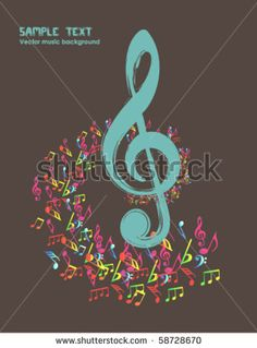 58728670: musical theme background with violin key - vintage vector Illustration