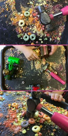 Fine Motor Skills: Hammering cereal provides tons of fun and development of fine motor skills. A great sensory activity for kids too. Sensory Activities Toddlers, Motor Skills Activities, Gross Motor Skills, Classroom Activities, Preschool Activities, Physical Activities, Sensory Rooms, Therapy Activities, Toddler Activities For Daycare