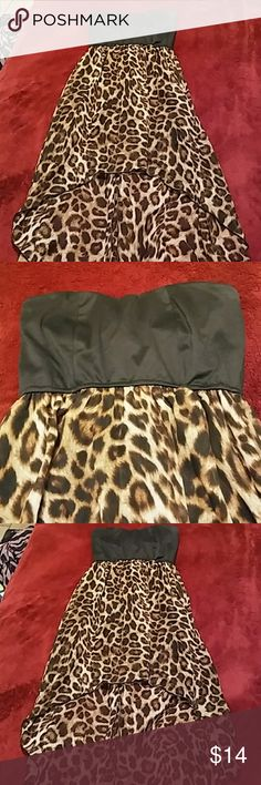 womens.Sz M high low animal print sleeveless dress Womens size medium crown of hearts high low animal print dress. The top is black cotton and has slme padding .no straps . the dress is soft flowing rayon. Lile new condition Dresses High Low