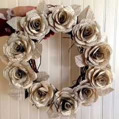 Book Art: Crafting Paper Roses – Linda K Sienkiewicz – Wreath Old Book Crafts, Book Page Crafts, Newspaper Crafts, Old Book Art, Newspaper Dress, Paper Flower Wreaths, Paper Flowers Diy, Flower Crafts, Paper Rose Craft