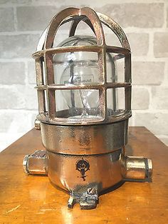 Vintage Industrial light-Solid brass lamp with cage & glass dome-Ex military in Home, Furniture & DIY, Lighting, Ceiling Lights & Chandeliers | eBay