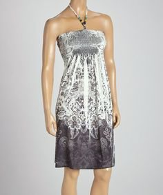 This Gray Sublimation Beaded Shirred Bodice Sleeveless Dress - Women by Shoreline is perfect! #zulilyfinds