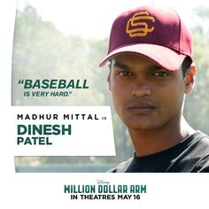 Meet Dinesh: A hardworking teen who leaves the family business to get the chance of a lifetime to win a major league baseball contract. Dinesh Patel, Million Dollar Arm, Hk Movie, Disney Live, Family Business, Major League, Tv Shows, Arms, Teen
