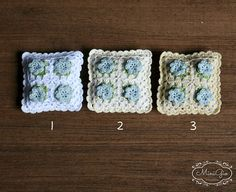 One miniature crochet pillow with four little blue flowers and green leaves, choose your color! Stuffed with little beads in a blue cotton case. The beads give some weight to the pillow for a more realistic look. It measures 3.2 x 3.2 cm (1 1/4 x 1 1/4). Handmade Crocheted by me with