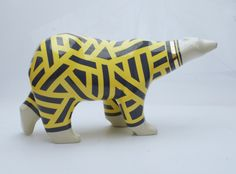 Alfa bear model Matisse, 23,5 x 15 x 45cm.  Mariusz Dydo ceramic sculpture.