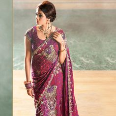 118349 Purple and Violet color family Party Wear Saree in Georgette, Net fabric with Machine Embroidery, Cut Dana, Stone work with matching unstitched blouse. Bridal Sari, Bollywood Party, Indian Outfits, Indian Clothes, Party Wear Sarees, Blouse Online, Indian Ethnic, Ethnic Fashion, Clothes For Women