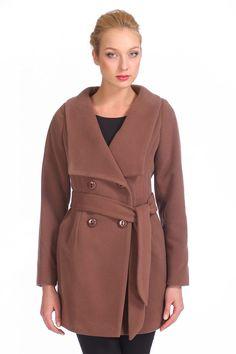 Женское пальто с воротником, без отделки, цена снижена на 18%..