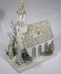 KD VINTAGE Vintage Putz Style Holiday Christmas Cardboard Church - Lights Up