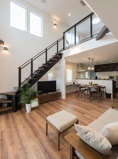 house in the Home Stairs Design, Small House Interior Design, Bungalow House Design, Tiny House Design, Home Design Plans, Casa Loft, Loft House, House Stairs, Staircase In Living Room