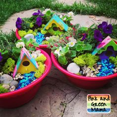 Pink and Green Mama: Teacher Appreciation Week Gift: Easy and Cute Fairy Garden in a $1 Salad Bowl.  I am in LOVE with these!!!