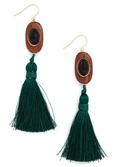 Tassel Dazzle Earrings - Green, Tan / Cream, Black, Solid, Tassles, Better, Mixed Media, Fringed, Boho, Vintage Inspired, 70s, Festival