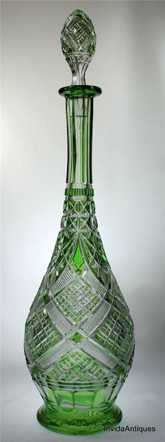Val St. Lambert, green cut-to-clear decanter