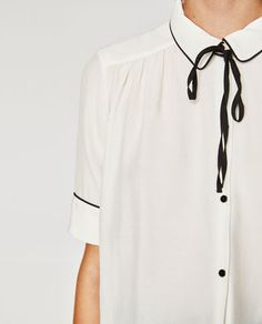 b56ee0b7f2533b Image 6 of TIE-NECK BLOUSE from Zara Tie Neck Blouse