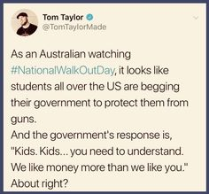"""An estimated 5 million kids, 6th-12th grade walked out in support of more restrictions on guns. Many news companys have referred to this generation """"the school shooting gen"""" simply because every week there is another school shooting. What was once a shocking and tragic occasion is now becoming the day to day, and I refuse to let this be ok."""
