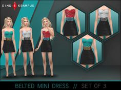 The Sims Resource: Belted Mini Dress by Sims4Krampus • Sims 4 Downloads