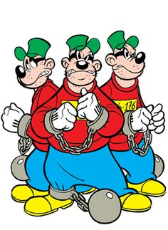 Three of the Beagle Boys in chains. Classic Cartoon Characters, Cartoon Books, Favorite Cartoon Character, Classic Cartoons, Cartoon Art, Arte Disney, Disney Art, Les Looney Tunes, Disney Italia