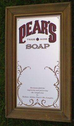 Pears Soap Sign Mirror Advertising Wood Frame Bar Mancave Home Decor