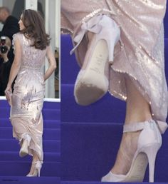 """Kate is pictured at the ARK's 10th Anniversary gala wearing her pink L.K. Bennett """"Agata"""" strappy sandals with pink suede heels featuring an ankle strap with large matching bow. Heel height 4""""."""