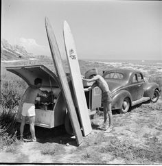 Teardrop camper & surf boards by Retro Surf, Vintage Surf, Vintage Tiki, Teardrop Trailer, Teardrop Campers, Motorcycle Camping, Camping Gear, Road Trip, Vintage Travel Trailers