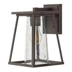 Burke Oil Rubbed Bronze Outdoor Wall Mount with Seeded Glass