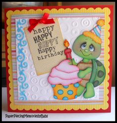Happy Birthday paper pieced Turtle card created by PAPER PIECING MEMORIES BY BABS, pattern by KaDoodle Bug Designs