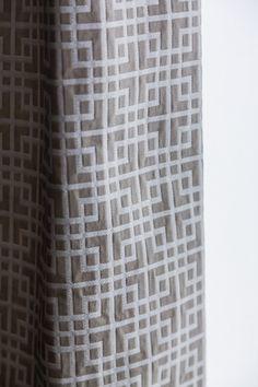 Gray am White Geometric Custom Drapery