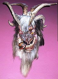 A Perchten-mask-The word Perchten is plural for Perchta, and this has become the name of her entourage, as well as the name of animal masks worn in parades and festivals in the mountainous regions of Austria