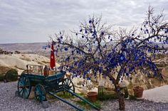 Evil eyes hang from tree over Cappadocia, Turkey trueworldtravels.com