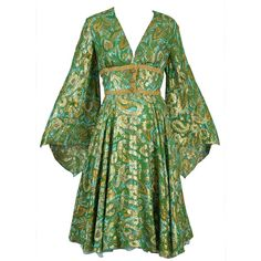 Preowned 1960s Fred Perlberg Metallic Silk Brocade Dress With Angel... (490 AUD) ❤ liked on Polyvore featuring dresses, green, green dresses, vintage, multiple, plunging neckline cocktail dress, flared skirt, green dress, metallic cocktail dress and vintage cocktail dresses