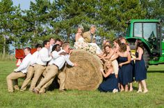 Enjoying some fun on the farm during their wedding party photos. Pic by @georgestreetpv