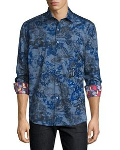 Limited Edition Printed Sport Shirt W/Embroidery, Blue by Robert Graham at Neiman Marcus.
