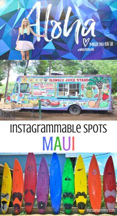 The BEST spots to get that perfect photo on the island of Maui, Hawaii. Don't miss these colorful, Instragrammable places on your next vacation! Maui Hawaii, Kauai, Visit Hawaii, Hawaii Honeymoon, Wailea Maui, Hawaii 2017, Lahaina Maui, Hawaii Life, Honeymoon Ideas