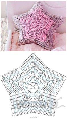 Crochet Pillow Pattern, Crochet Motifs, Crochet Square Patterns, Crochet Diagram, Crochet Designs, Crochet Doilies, Crochet Flowers, Knitting Patterns, Knit Pillow