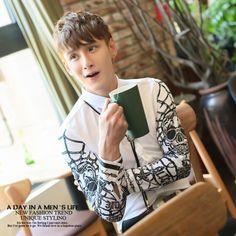 Man version of shirt long-sleeve slim men skull print white shirt clothes   29.50 30718b9f9