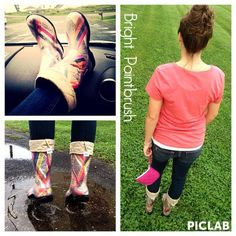Our #RainyDay #OOTD includes #CheetahPrint and #BrightPaintbrush #BootsByTwoAlity!!! #RainStyle #RainBoots #MadeintheUSA #ClearBoots #InterchangeableLiners Pictured here- Bright Paintbrush #BootsByTwoAlity! #FallColors #FallBoots #Boots