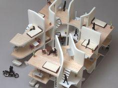 Maqueta de los apartamentos para moteros diseñados en Japón