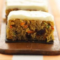 Carrot and Zucchini Bars, sub out half the oil for applesauce, cut out 1/2 the sugar, use reduced fat cream cheese