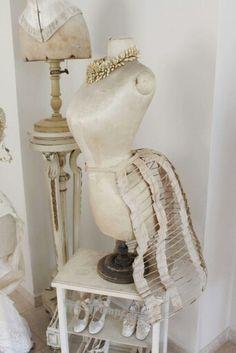 pingail namest on mannequins  dress form pastel pink